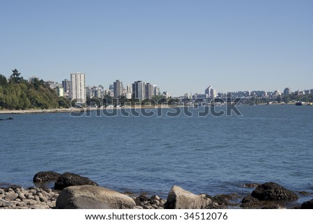 Panorama of Skyscrapers and Lions Bridge in Vancouver, Canada - stock photo