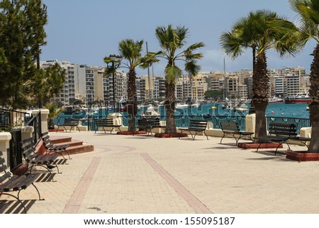 Panorama of Sliema, coastline in Malta  - stock photo