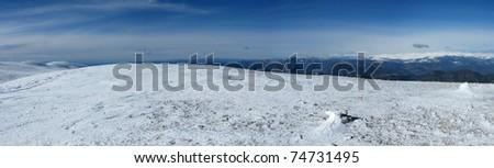 panorama of Snowy mountains in the pyrenees, Spain. Vall de la Vansa, sierra del Cadi - stock photo