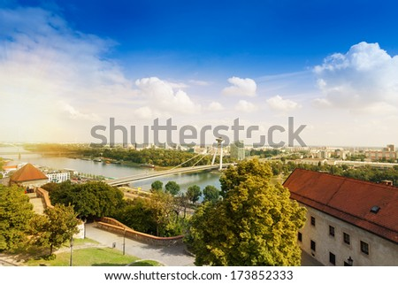 Panorama of SNP bridge in Bratislava, capital of Slovakia - stock photo