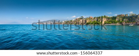 Panorama of Sorrento, Sant'agnello, Montechiaro and Vesuvio volcano gulf view. The province of Campania. Italy. - stock photo