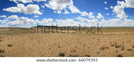 panorama of South Pass wyoming where many trails crossed the Continental Divide - stock photo