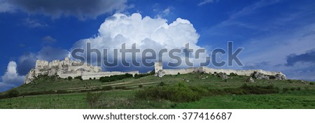Panorama of Spissky Castle, Slovakia under the dramatic cloudy sky in summer. Castle in central Europe,Slovakia - stock photo