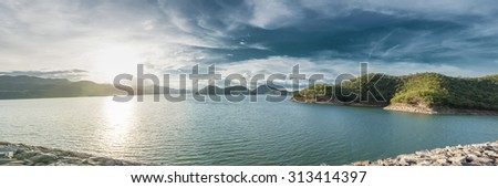 Panorama of Srinakarin Dam, Kanchanaburi, Thailand at late afternoon - stock photo