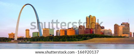 Panorama of St Louis skyline - stock photo