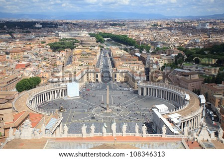 Panorama of St.Peter Square from roof of St.Peter Basilica, Rome, Italy - stock photo