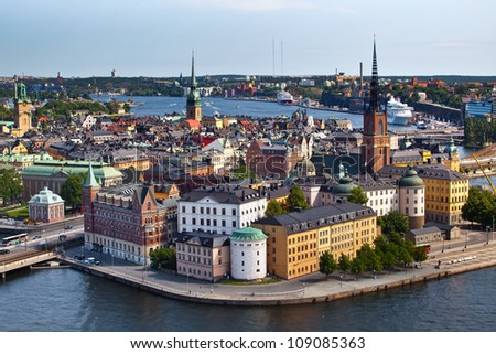Panorama of Stockholm city from city hall, Sweden - stock photo