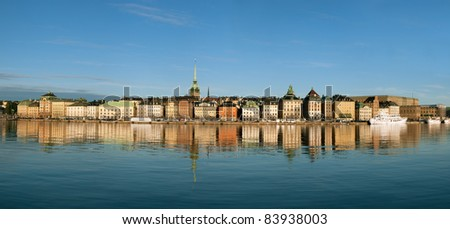 Panorama of Stockholm city, The Old Town (Gamla Stan) - stock photo