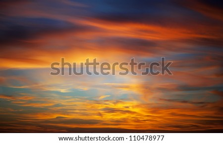 Panorama of sunset in a sky - stock photo