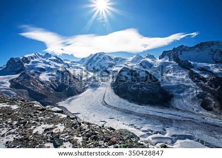 Panorama of swiss Alps with Matterhorn glacier - stock photo