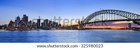 panorama of SYdney CBD cityline from Kirribilli across Harbour looking out at skyscrapers, towers, Harbour Bridge - stock photo