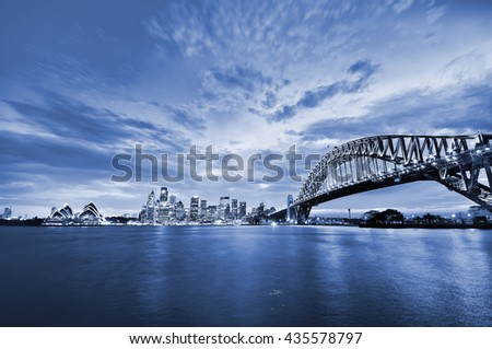 Panorama of Sydney Harbour at dusk - stock photo