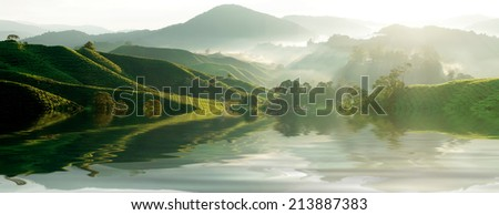 Panorama of Tea Plantations at Cameron Highlands Malaysia - stock photo