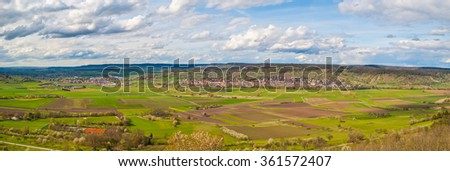 Panorama of the 'Ammerbuch' area in south Germany - stock photo