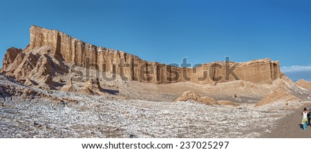 Panorama of the Amphitheatre, which is beautiful geological formation of Moon Valley in Atacama Desert, Chile - stock photo