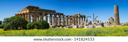 Panorama of the ancient greek Temple District, Selinunte, Sicily, Italy - stock photo