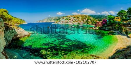 Panorama of the Assos beach in Kefalonia, Greece - stock photo