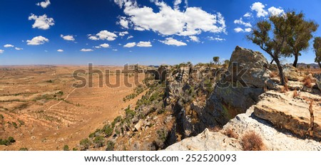 Panorama of the beautiful landscape of Isalo national park in Madagascar - stock photo