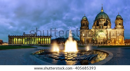 Panorama of the Berliner Dom and the Altes Museum at Lustgarten in Berlin, Germany, by night - stock photo