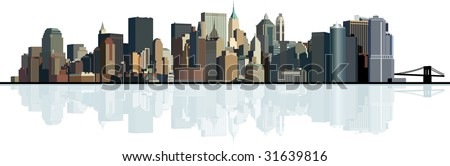 Panorama of the big city. Urban background. Raster version of vector illustration. - stock photo