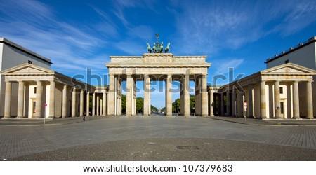 Panorama of the Brandenburger Tor - stock photo