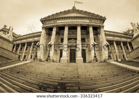 Panorama of the Building of Congress in Buenos Aires, Argentina (Sepia Image) - stock photo