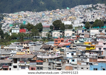 Panorama of the capital of Quito during the day. Quito was the first UNESCO Heritage site in the world. - stock photo