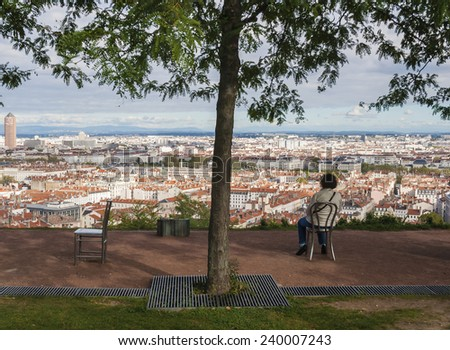Panorama of the city, Lyon, France - stock photo