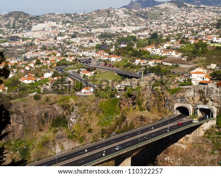 panorama of the city of Funchal, Madeira - stock photo