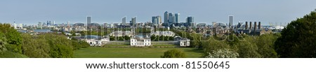 Panorama of the City of London and Isle of Dogs viewed from Greenwich - stock photo