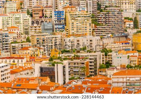 Panorama of the city of Monte Carlo  in Monaco. - stock photo