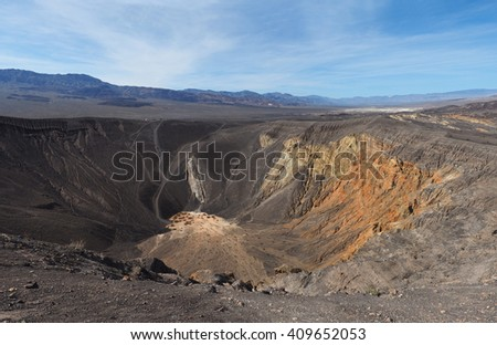 Panorama of the Colorful Ubehebe Crater in Death Valley National Park, California - stock photo
