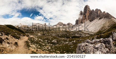 Panorama of the famous Mountains Tre Cime - Italy - stock photo