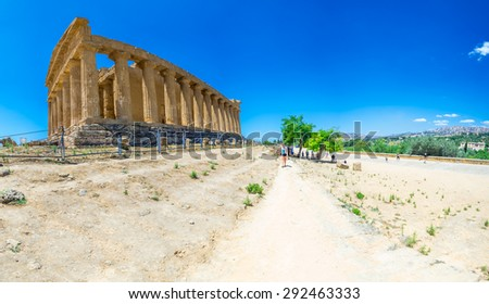 Panorama of the Greek Temple to Concord - stock photo