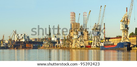 Panorama of the harbor and the shipyard in Gdansk, Poland. - stock photo