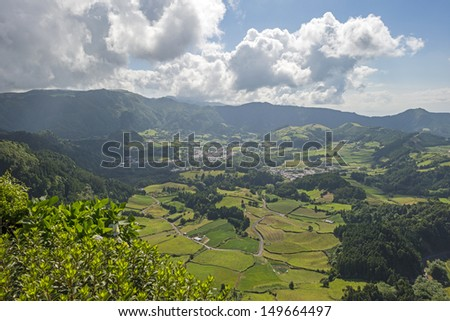 Panorama of the hilly landscape of the Azores - stock photo
