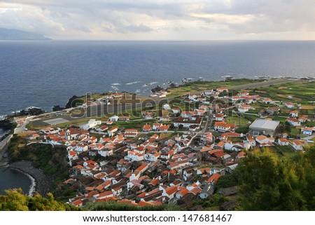 Panorama of the island of Corvo Azores Portugal - stock photo