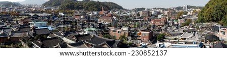 Panorama of the Jeonju, a traditional Korean village. - stock photo