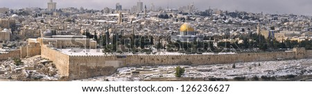Panorama of the Jerusalem Old City under snow, view from the Mountain of Olives - stock photo