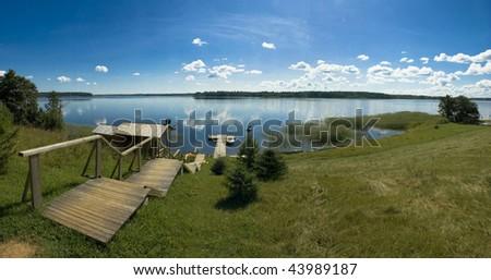 panorama of the lake - stock photo
