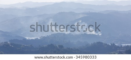 Panorama of the lakes and islands in Guatape taken from Piedra el Penol, near Medellin, Colombia. - stock photo