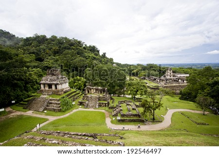Panorama of the Mayan ruins of Palenque, Chiapas, Mexico - stock photo