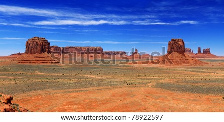 Panorama of the monument valley (Navajo Tribal park) - stock photo