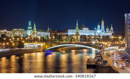 Panorama of the Moscow Kremlin, Russia - stock photo