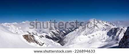 panorama of the mountain range in Alps, Tyrol - stock photo