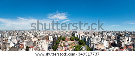 Panorama of the neighborhood from the Congress of the Nation Argentina, Buenos Aires - stock photo