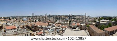 Panorama of the Old City of Jerusalem Mount Moriah and the Mount of Olives - stock photo