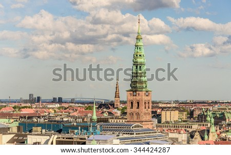 Panorama of the old part of the city and Church of Our Saviour from the observation deck at the Round tower (Rundetaarn) in Copenhagen, Denmark - stock photo