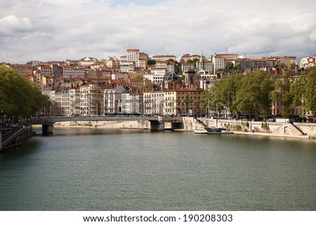 Panorama of the old town Lyon - stock photo