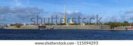 Panorama of the Peter and Paul Fortress with Peter and Paul Cathedral and Grand Ducal Burial Vault in Saint Petersburg, Russia - stock photo